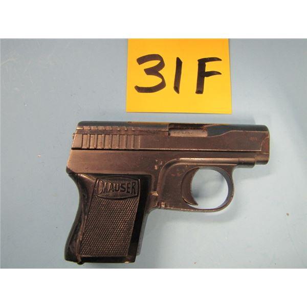 PROHIBITED:  Mauser, model wtp 1, semi-automatic, 6 shot, calibre 6.35 mm, barrel length 60 mm, seri