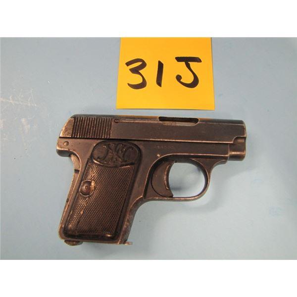 PROHIBITED:  FN - Browning, model 1906, semi-automatic, calibre 6.35 mm, 6 shot, barrel length 54 mm