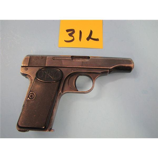 PROHIBITED:  FN Browning, model 1910, semi-automatic, calibre 7.65 mm, 7 shots, barrel length 89 mm