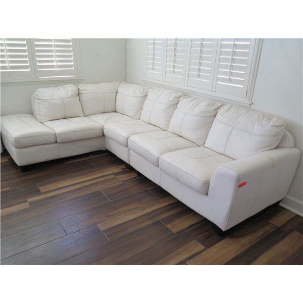 White 4-Piece Faux Leather Sectional Sofa (see pictures for measurements)