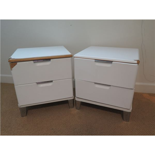 "Pair: 2-Drawer Nightstands 19""W x 17""D x 21""H (some areas of the lacquered overlay are peeling and s"