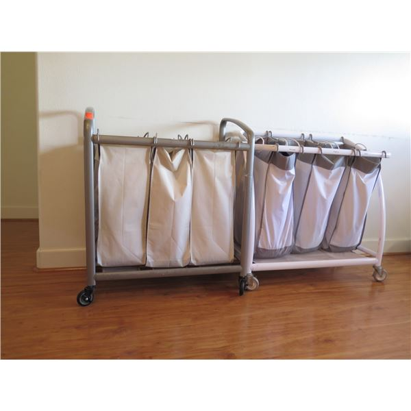 "Qty 2 Rolling Laundry Hampers, Approx. 31""W, 17""D, 35""H"