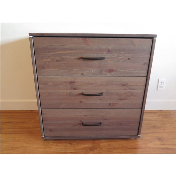 "Qty 3 Wooden Nightstands w/ Drawers 28.5""W x 17D"" x 29.5""H (one has damaged top drawer)"