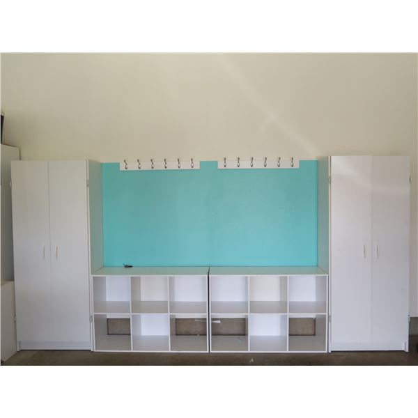 Organizer System w/ 2 Cabinets, Panel w/ Hooks & Cubbies, Approx. 5-Ft Tall (cabinet door has damage