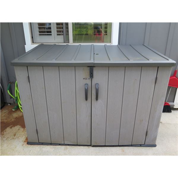 "Lifetime Model 60296U Patio Storage Shed with Top-Lid Opening & Swing-Out Doors 74""W x 41""D x 51""H"