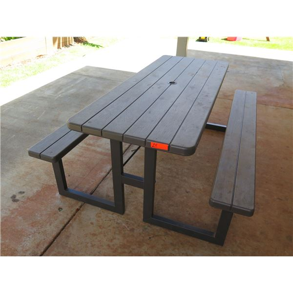 Lifetime Model 60264U Folding Picnic Table w/ Benches, 6-Ft Long, Plastic w/ Wood Grain Pattern