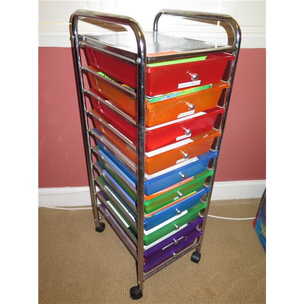 "Rolling Organizer Unit w/ Plastic Pull-out Trays Approx. 12""W, 15""D, 37.5"" Tall"