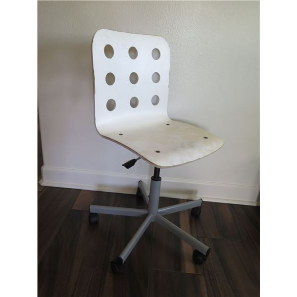 White Minimalist Office Chair w/ Round Cut-Outs  (shows signs of wear)