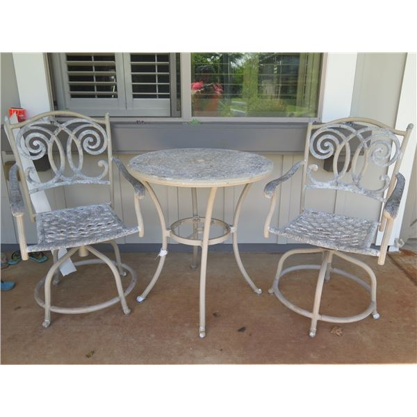 "Patio Bistro Table (30"" Dia, 33""H) & 2 Chairs (shows general wear and tear)"