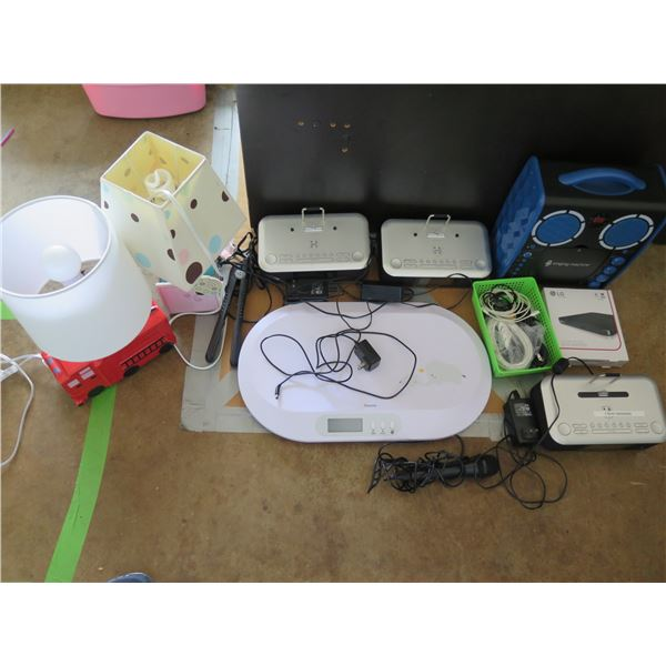 Misc. Electronics: Kids Karaoke Machine, Unopened DVD Writer, iHome iDL95 Units, Scale, Mic, etc