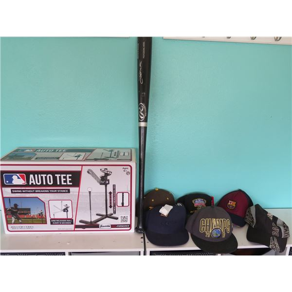6 Unused Hats, Auto Tee, Used Wooden Bat