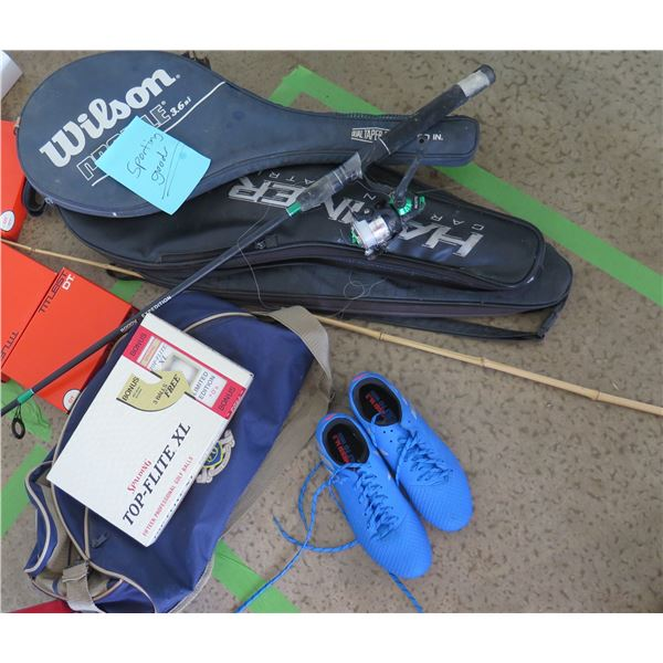 Sporting Goods: Tennis Rackets, Boxes of Golf Balls, Soccer Shoes, Fishing Rod, Bag
