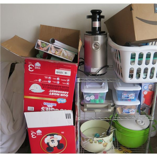 Omega Juicer & Attachments, Misc. Kitchen Items, Disposable Gloves, Books, etc