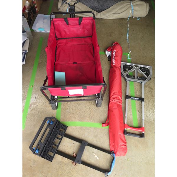 Collapsible Canvas Wagon, Folding Umbrella, 2 Folding Hand Trucks
