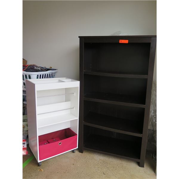 "Dark Brown Shelving Unit (56""H) and Small White Organizer Shelving Unit with Wheels (37"" H)"