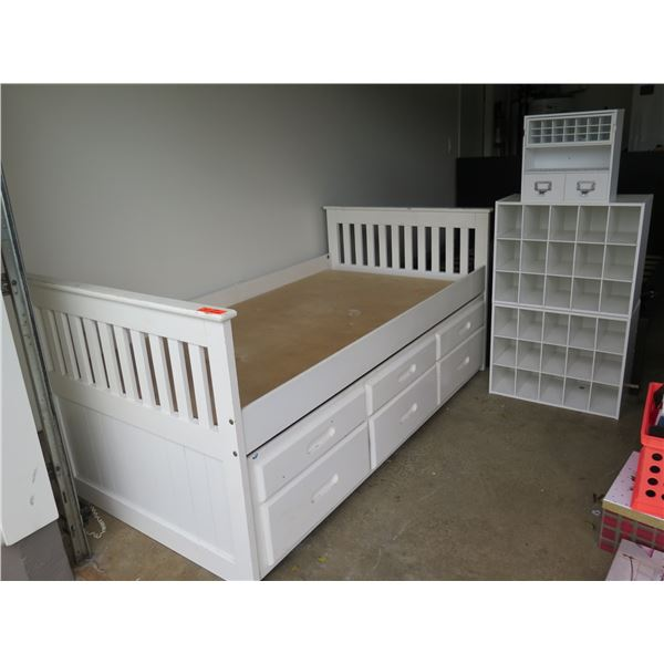 "Kids Bedroom Furniture: White Twin Bed Frame (78""x40""x36""H), Shoe Racks, Jewelry Organizer"