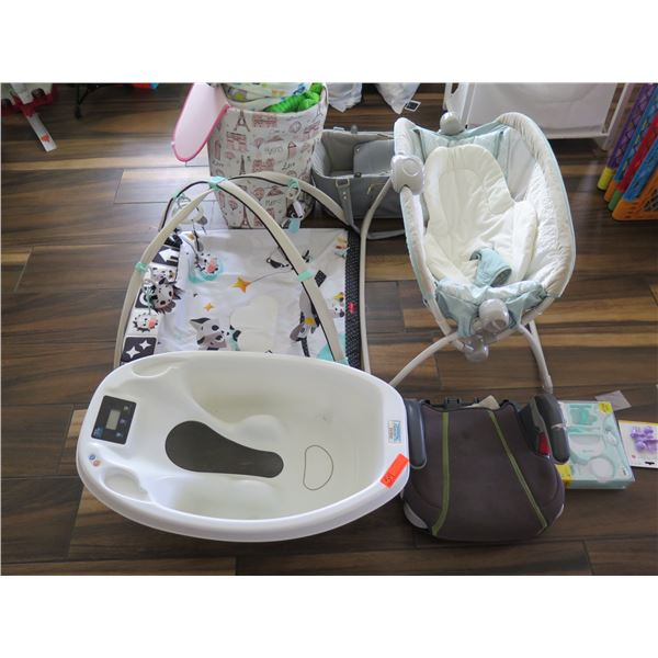 Booster Seat, Folding Bassinet, Mory Jane Carrier, New Grooming Set, Infant Play Pad, Foot Tub