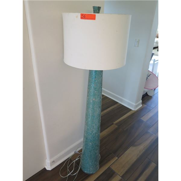 Tall Blue Mosaic Floor Lamp with Shade