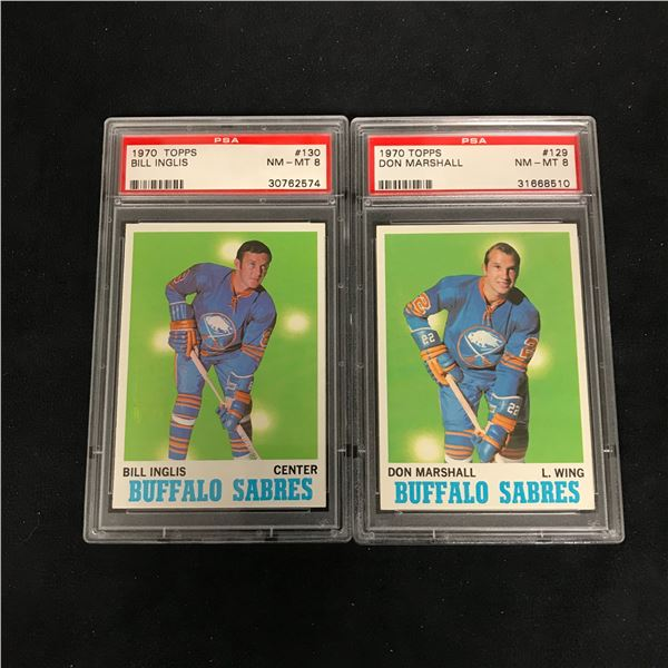 1970 TOPPS GRADED HOCKEY CARD LOT (#130 INGLIS/ #129 MARSHALL)