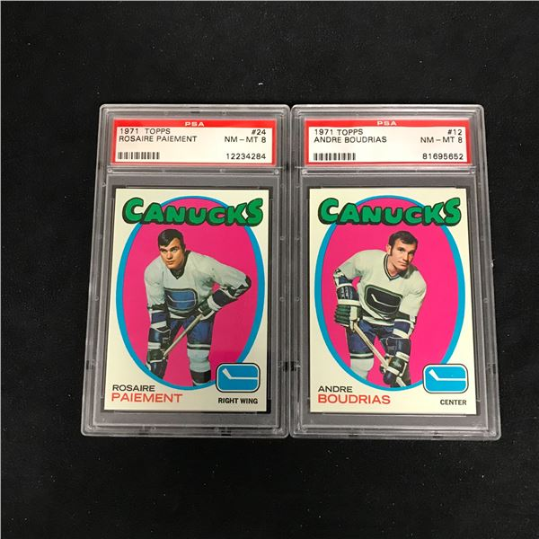 1971 TOPPS GRADED HOCKEY CARD LOT (#24 PAIEMENT/ #12 BOUDRIAS)