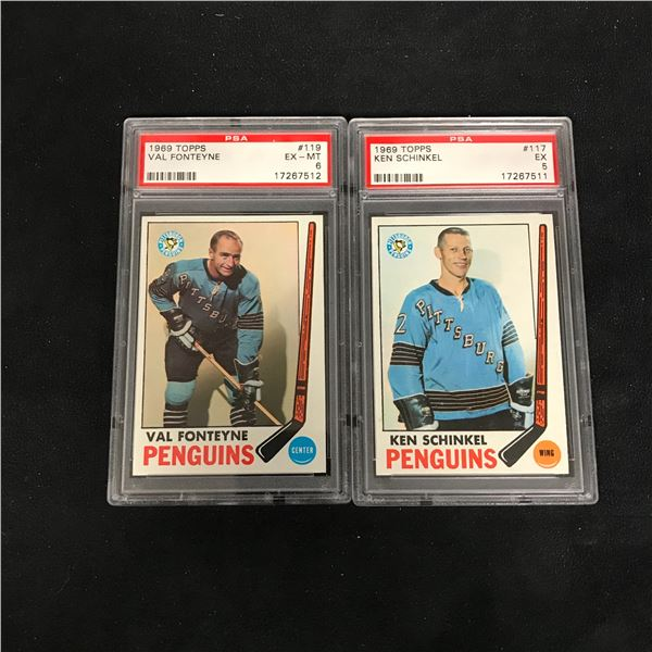 1969 TOPPS GRADED HOCKEY CARD LOT (#119 FONTEYNE/ #117 SCHINKEL)