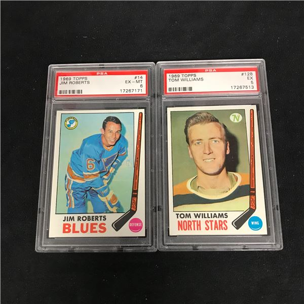 1969 TOPPS GRADED HOCKEY CARD LOT (#14 ROBERTS/ #128 WILLIAMS)