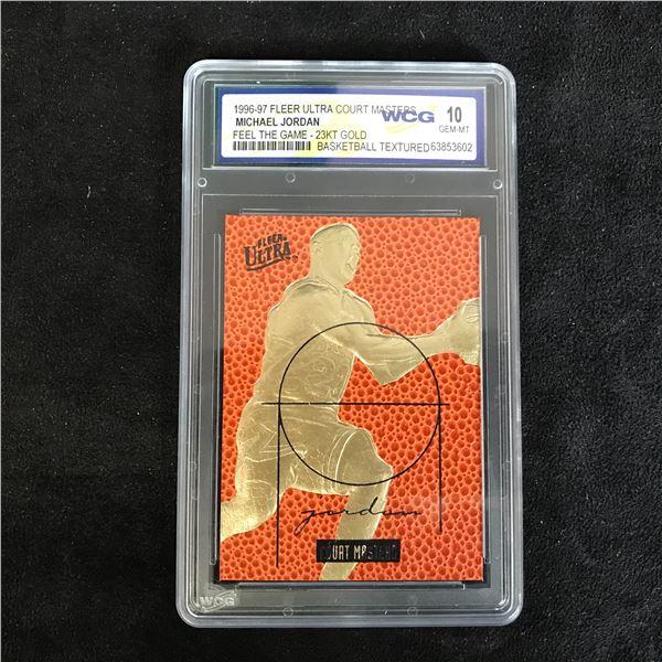 1996-97 FLEER ULTRA COURT MASTERS MICHAEL JORDAN FEEL THE GAME 23 KT GOLD (GEM MINT 10)