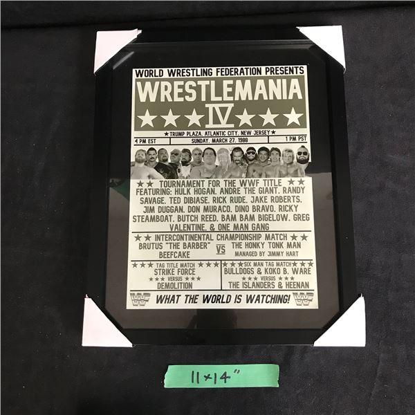 WRESTLEMANIA IV WRESTLING POSTER FRAMED (11X14)