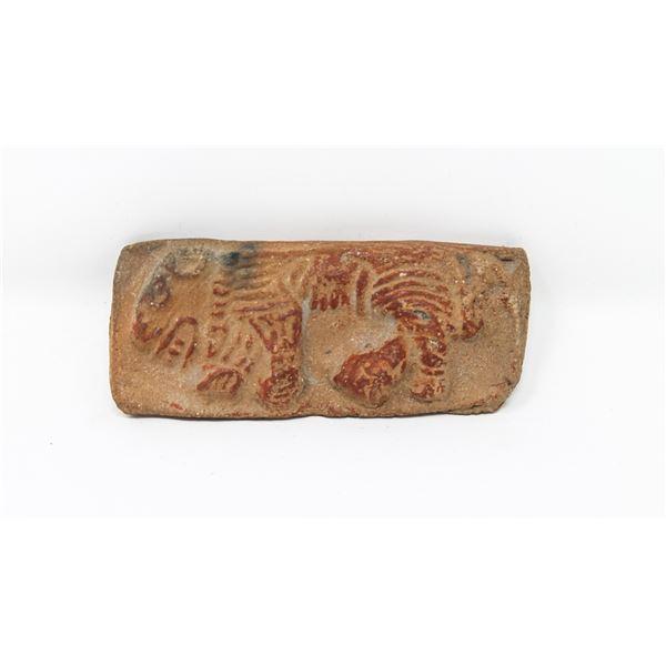 1300-1521 AZTEC CLAY SEAL JAGUAR IN PROFILE