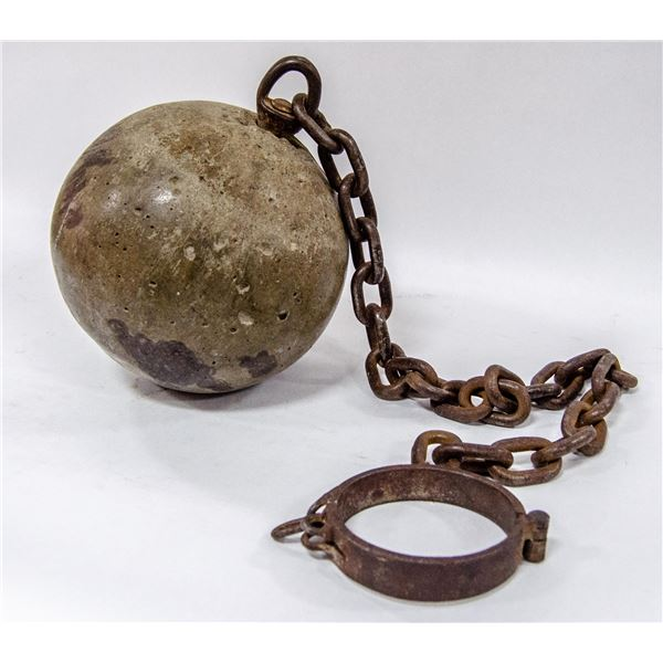 ANTIQUE BALL AND CHAIN FROM OLD FORT SK PRISON