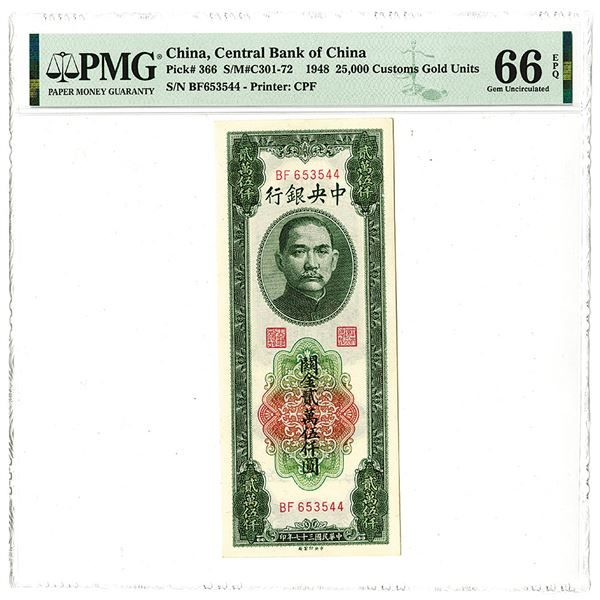 Central Bank of China. 1948 Issue Banknote.