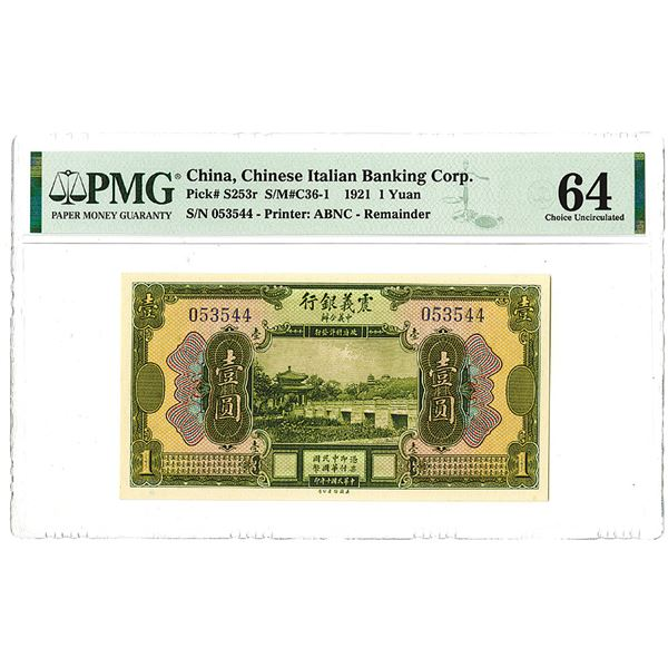 Chinese Italian Banking Corp. 1921 1 Yuan Banknote