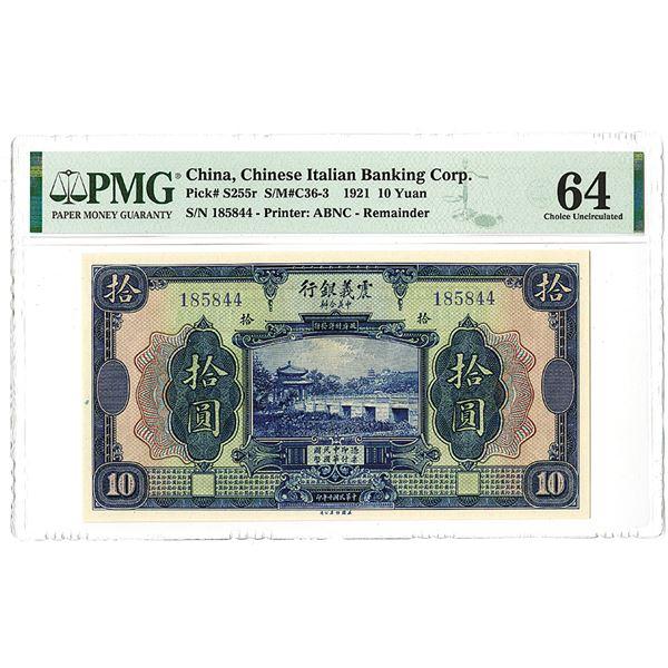Chinese Italian Banking Corp. 1921 10 Yuan Banknote
