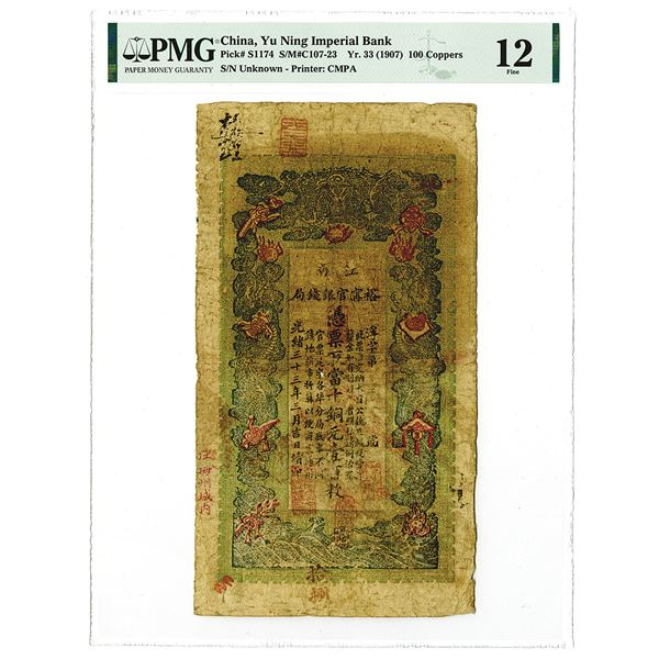 Yu Ning Imperial Bank, June Yr.33 (1907) Copper Coin Issue.