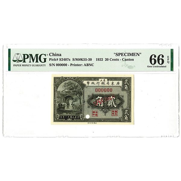 Provincial Bank of Kwang Tung Province, 1922 Issue Specimen.