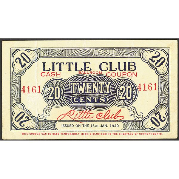 Little Club Ballroom Cash Coupon, 1940 Issue Scrip Note.