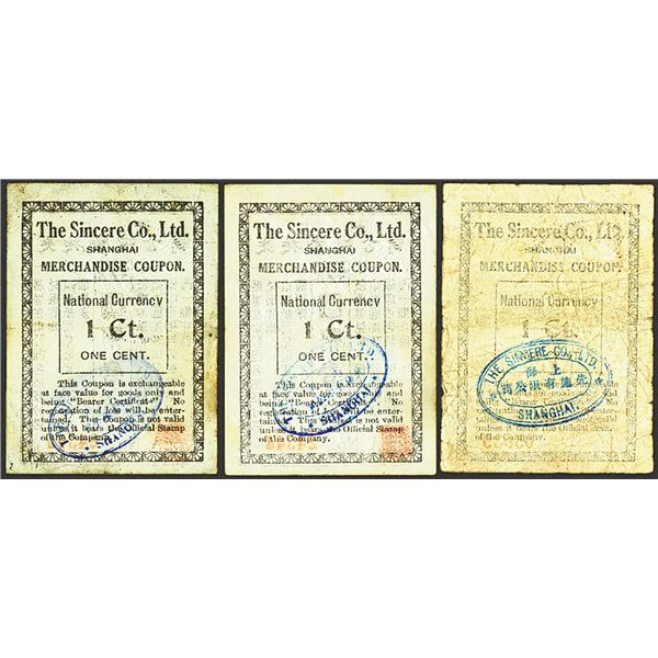 Shanghai, The Sincere Co. Ltd, Merchandise Coupon or Scrip Note  Group of 3.