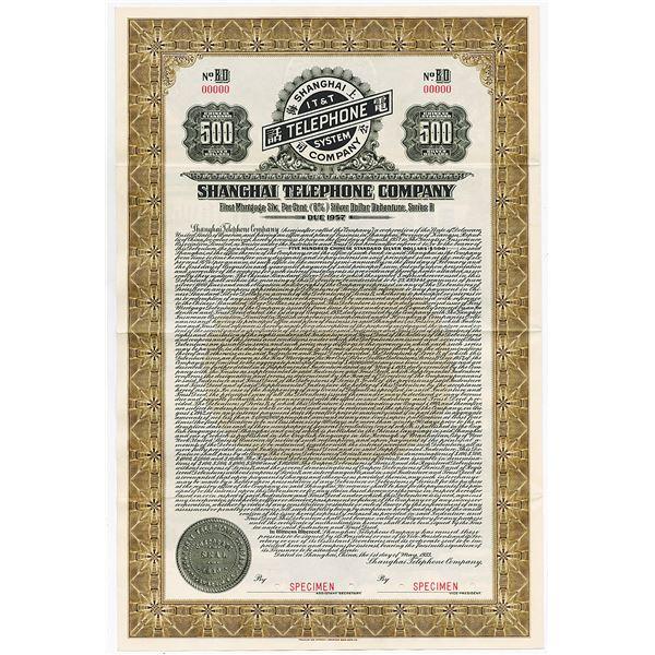 "Shanghai Telephone Co., 1933 Specimen ""Silver Dollar Series"" Coupon Bond"