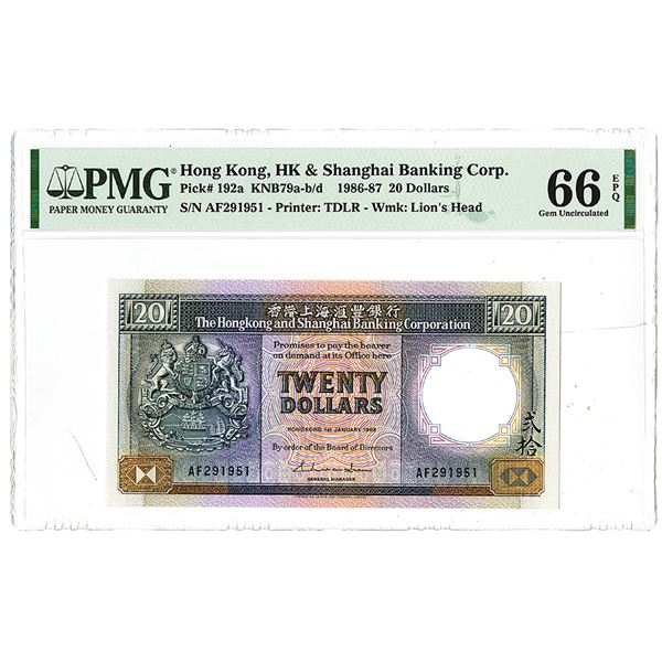 Hongkong & Shanghai Banking Corp.. 1986. One of 2 Sequential High Grade Issued Notes to be offered.