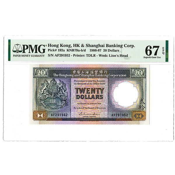 Hongkong & Shanghai Banking Corp.. 1986. The Second of 2 Sequential High Grade Issued Notes.