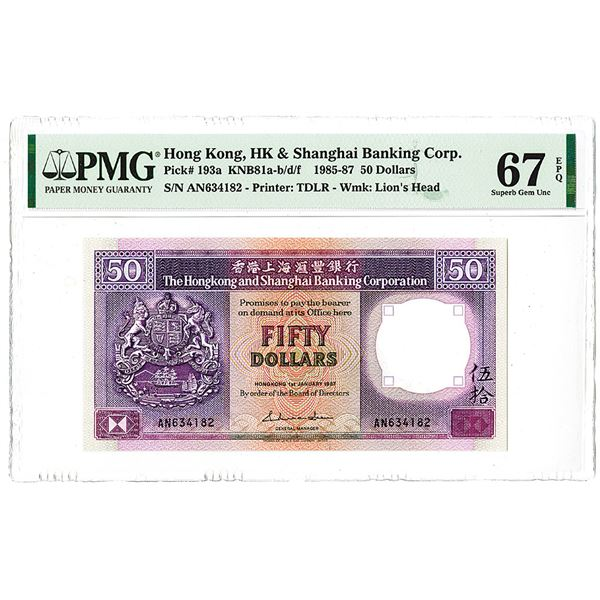 Hongkong & Shanghai Banking Corp.. 1987. The Second of 2 Sequential High Grade Issued Notes.