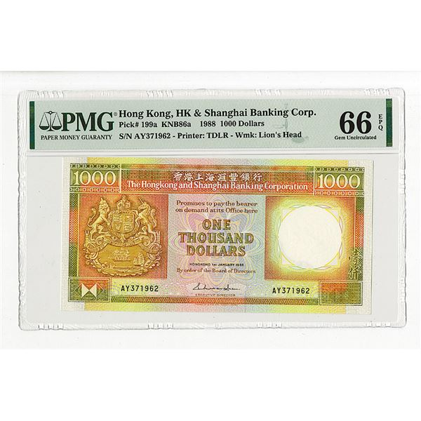 Hongkong & Shanghai Banking Corp.. 1988. The Second of 2 Sequential High Grade Issued Notes.