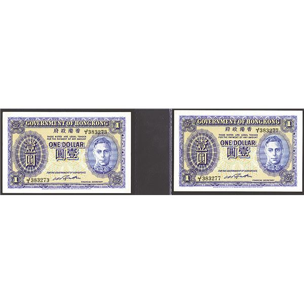 Government of Hong Kong, 1940-41 ND Issue Banknote Pair.