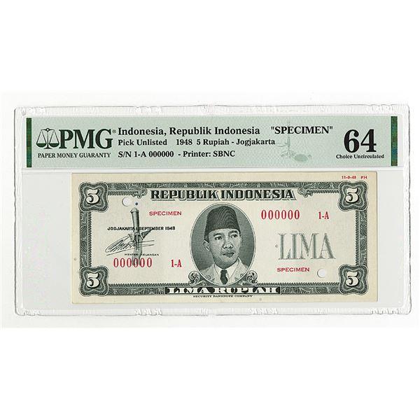 Republik Indonesia, 1948, 5 Rupiah, Specimen Essay Banknote.