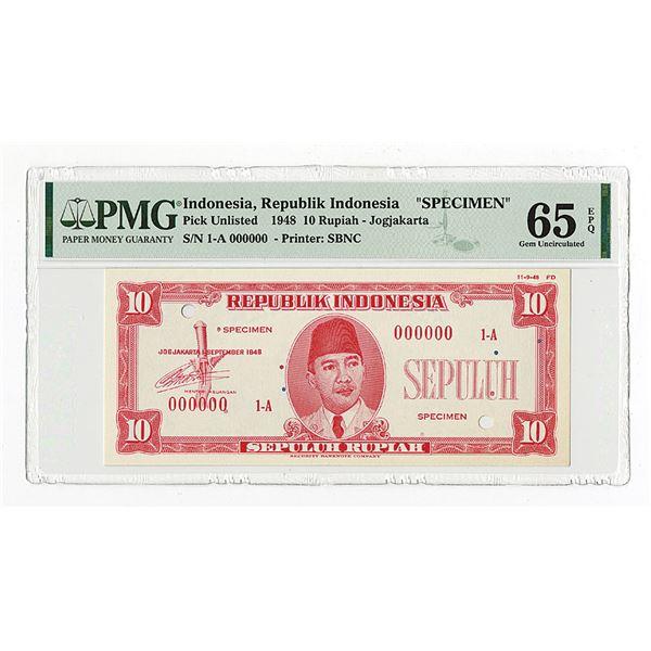 Republik Indonesia, 1948, 10 Rupiah, Specimen Essay Banknote.
