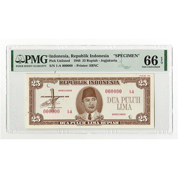 Republik Indonesia, 1948, 25 Rupiah, Specimen Essay Banknote.