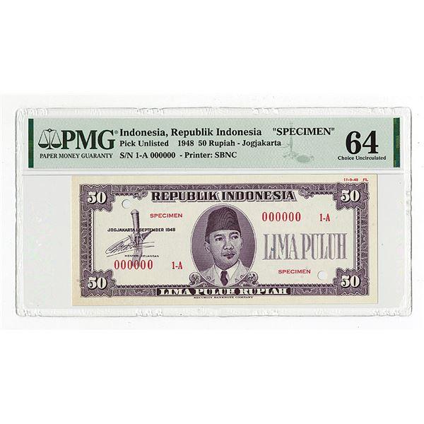Republik Indonesia, 1948, 50 Rupiah, Specimen Essay Banknote.