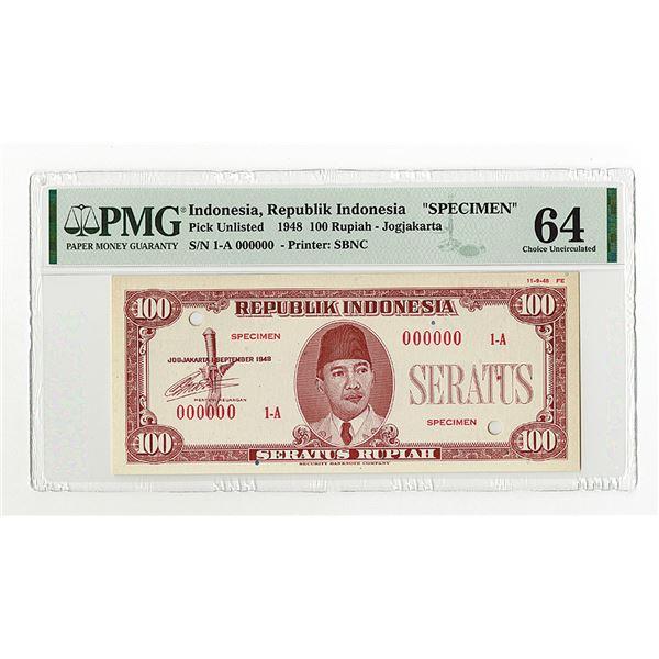 Republik Indonesia, 1948, 100 Rupiah, Specimen Banknote.