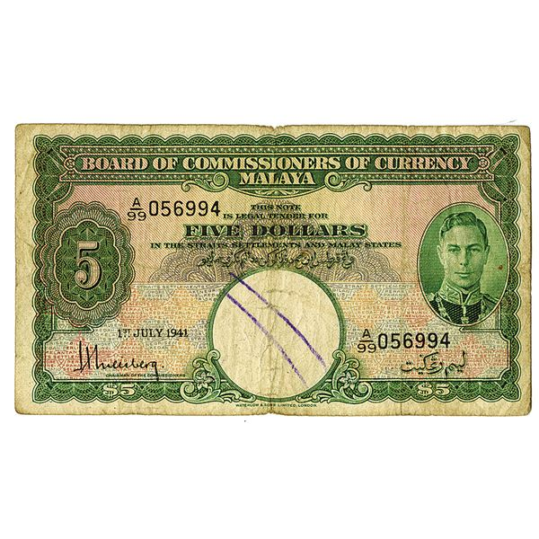 Board of Commissioners of Currency. 1941. Issued Note.