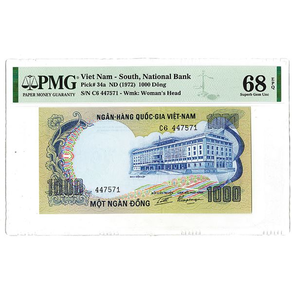 "South Viet Nam, National Bank. ND (1972). ""Top Pop"" Issued Banknote."
